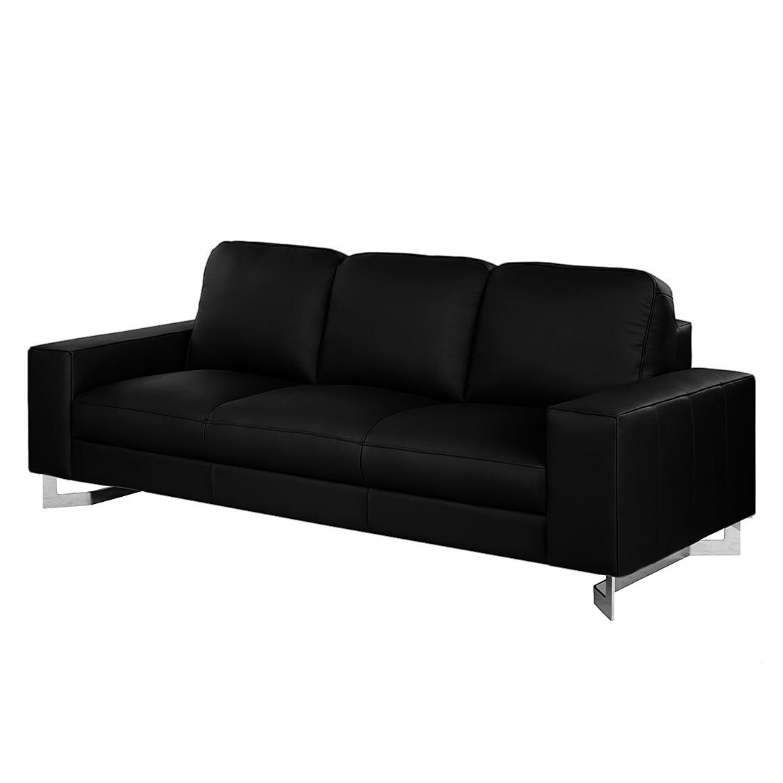 Sofa Licata (3-Sitzer) - Echtleder Schwarz, Nuovoform