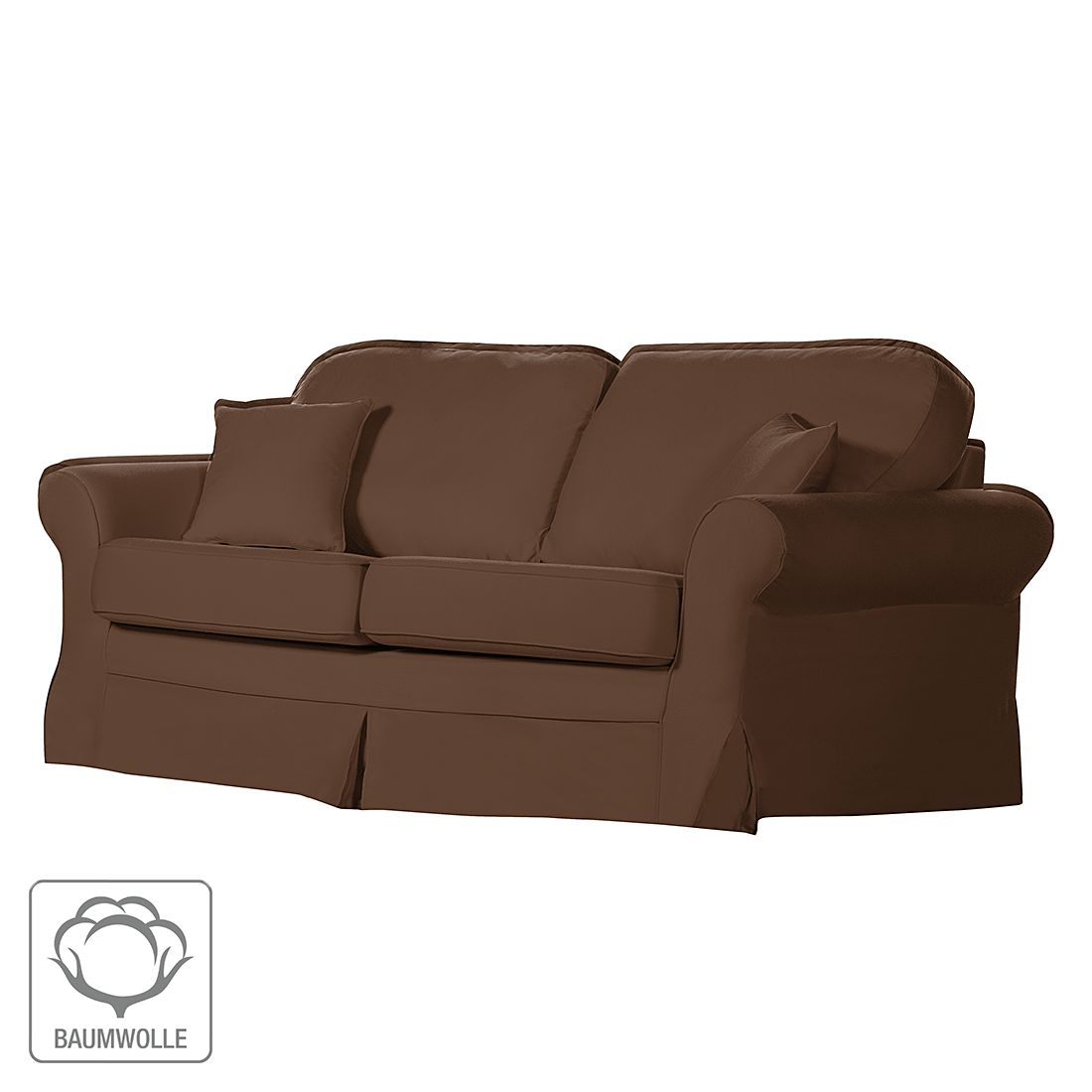 sofa louanne 3 sitzer baumwollstoff braun jack alice g nstig kaufen. Black Bedroom Furniture Sets. Home Design Ideas