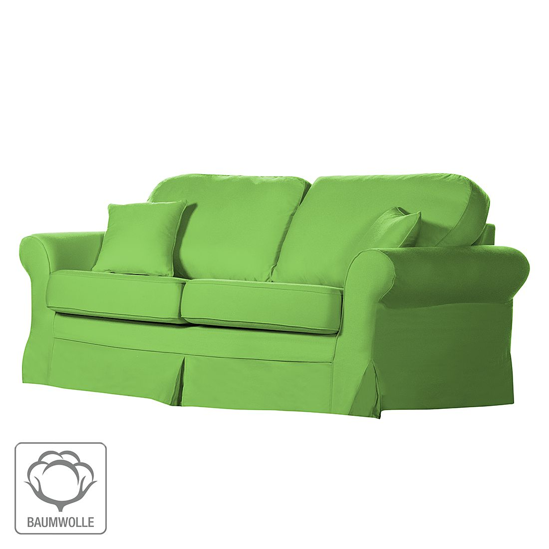 Sofa Louanne (3-Sitzer) – Baumwollstoff Grün, Jack & Alice günstig kaufen
