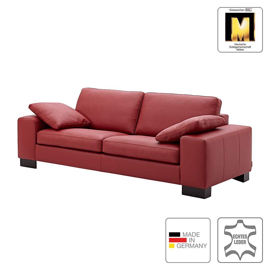 Sofa Matador (3-Sitzer) - Echtleder - Dunkelrot - 1 Kissen, Machalke Polsterwerkstätten