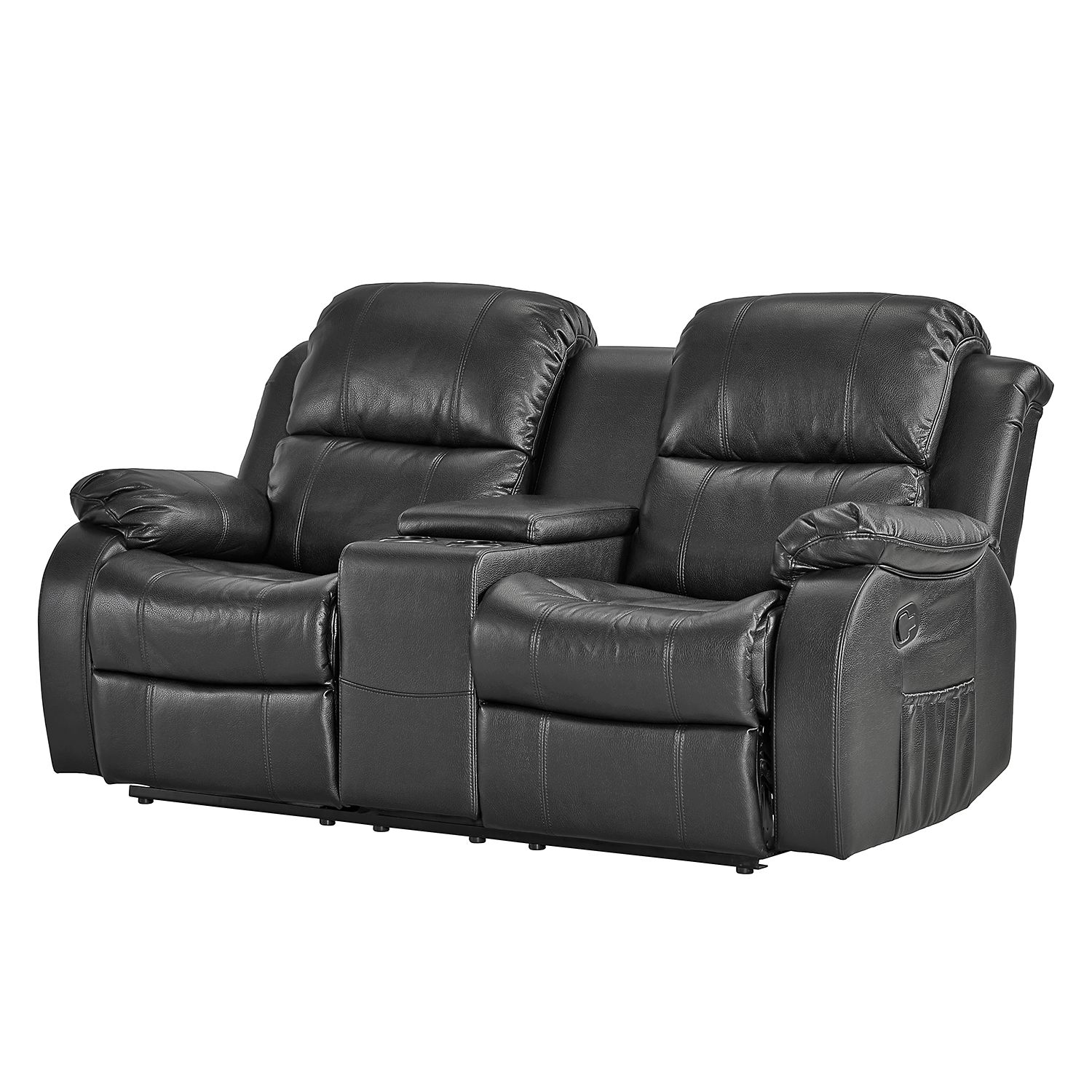 sofa mendis 2 sitzer kunstleder schwarz ebay. Black Bedroom Furniture Sets. Home Design Ideas