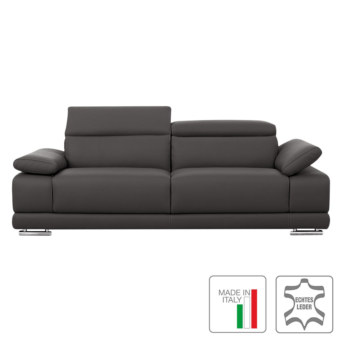 sofa morfeo 3 sitzer echtleder dunkelgrau trend italiano g nstig bestellen. Black Bedroom Furniture Sets. Home Design Ideas