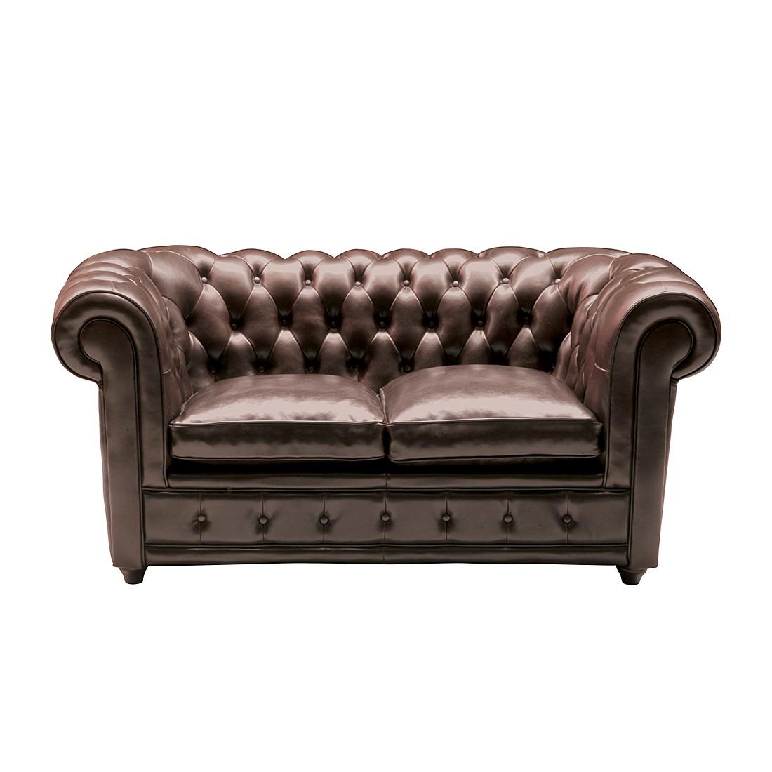 Sofa Oxford (2-Sitzer) - Echtleder Dunkelbraun, Kare Design