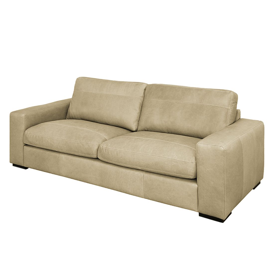 Sofa Riton (3-Sitzer) - Echtleder - Taupe, Nuovoform