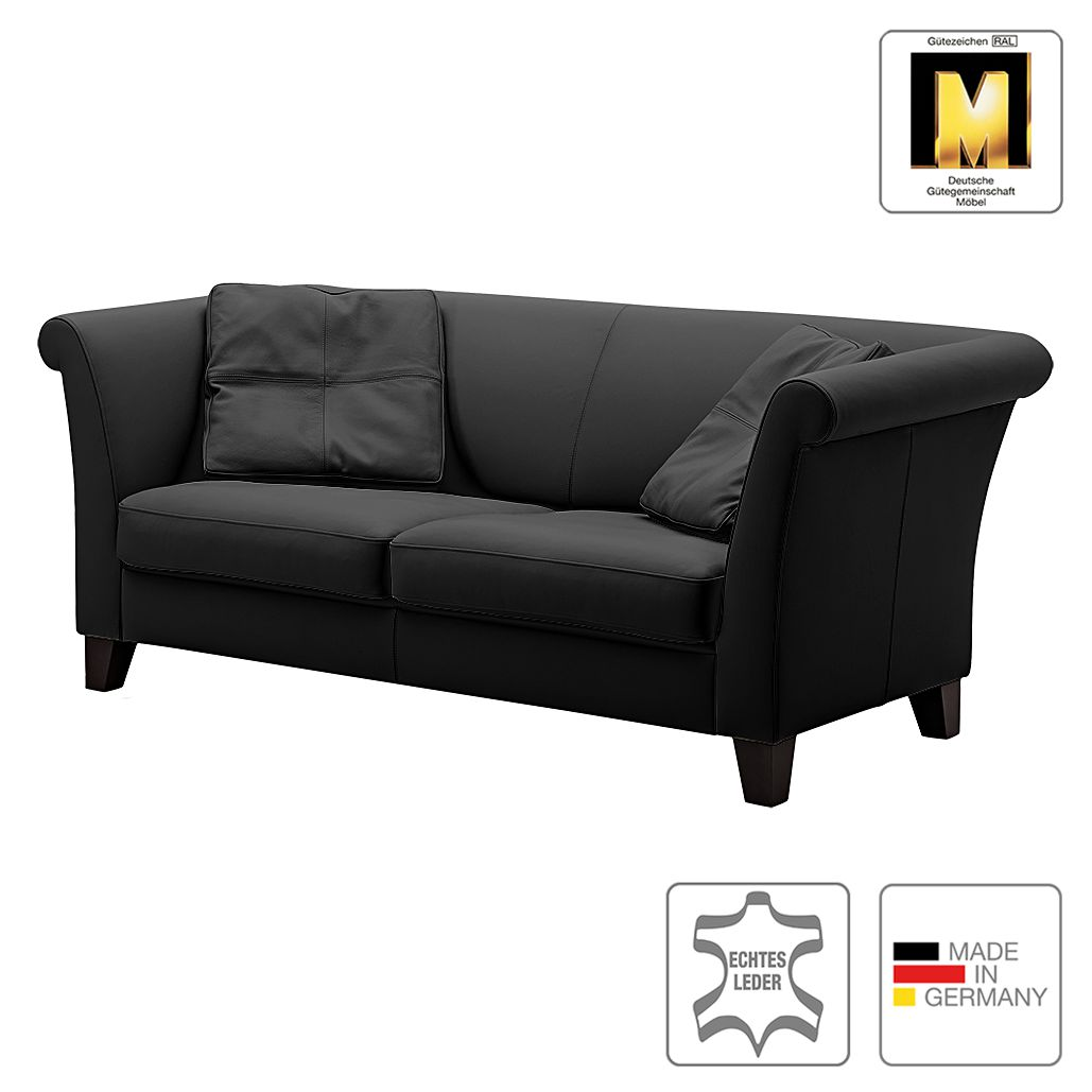 sofa ritz 2 5 sitzer echtleder schwarz machalke. Black Bedroom Furniture Sets. Home Design Ideas