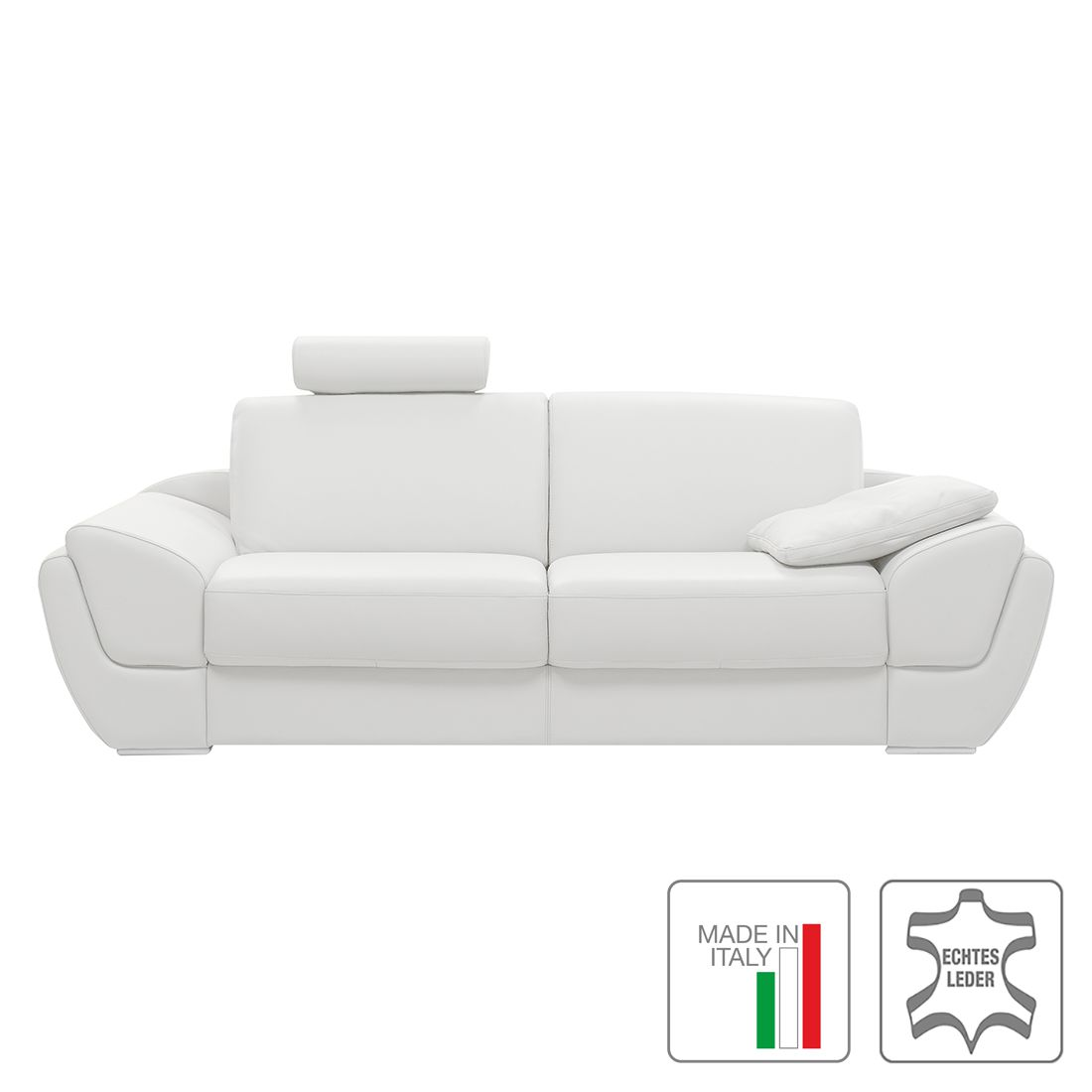 sofa roma 3 sitzer echtleder wei trend italiano g nstig online kaufen. Black Bedroom Furniture Sets. Home Design Ideas
