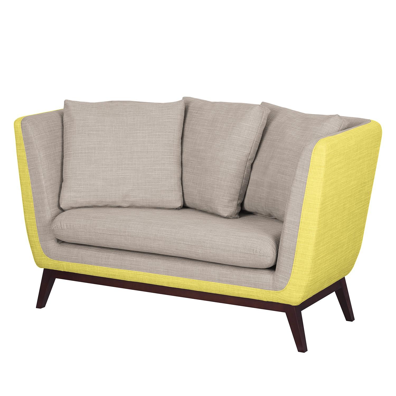 Sofa Sagone (2-Sitzer) - Webstoff - Gelb / Hellgrau, Morteens