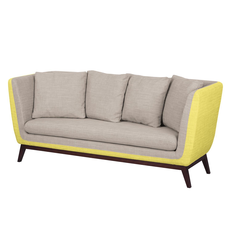 Sofa Sagone (3-Sitzer) - Webstoff - Gelb / Hellgrau, Morteens
