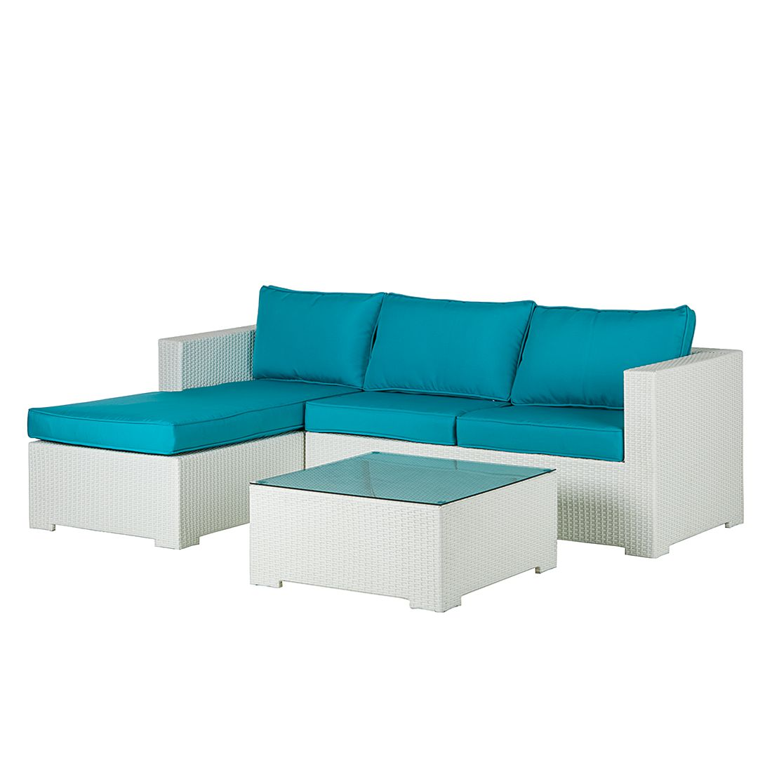 Lounge Sitzgruppe White Comfort (3-teilig) - Polyrattan/Textil - Weiß/Türkis, Kings Garden