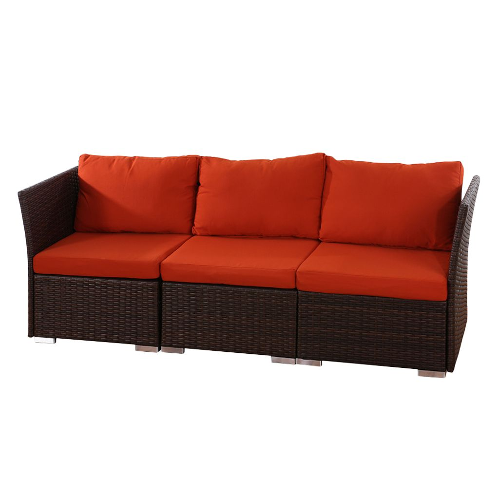 Sofa Sevilla (3-Sitzer) – Polyrattan/Textil – Braun/Bordeaux, Mendler günstig