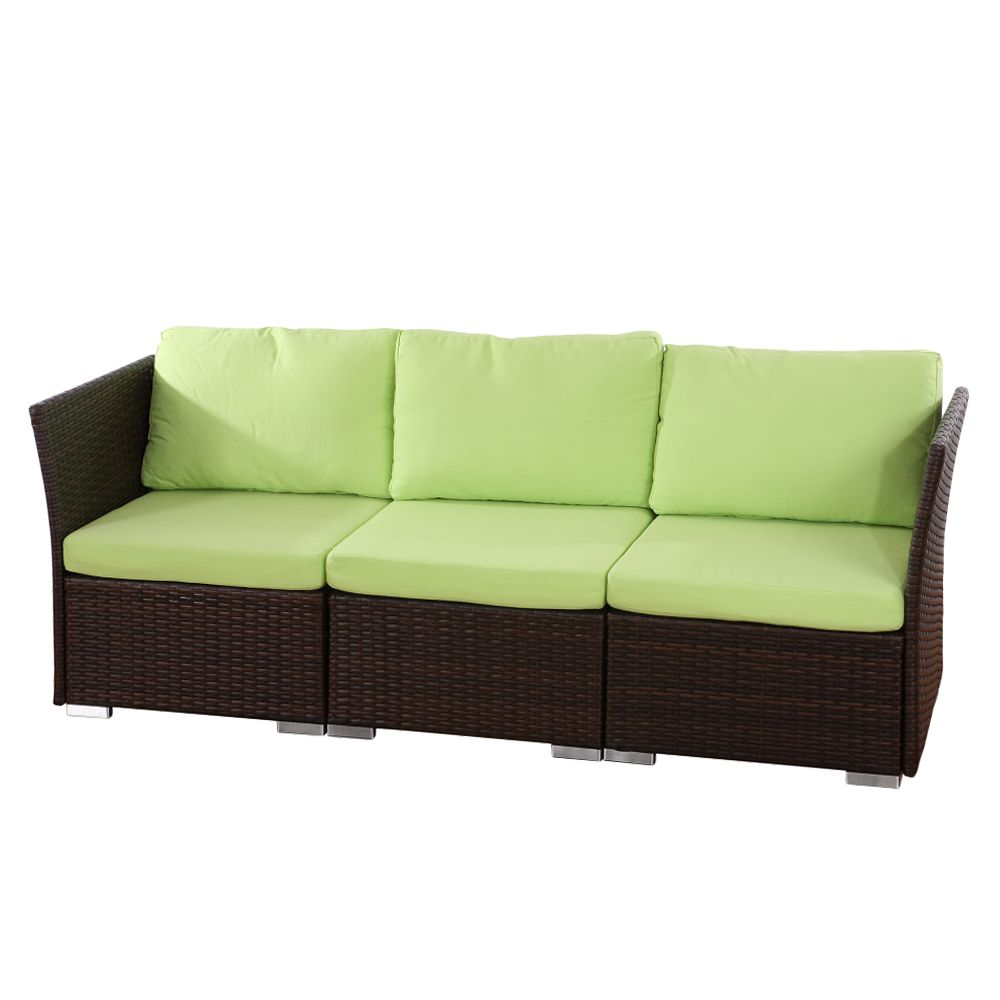 sofa sevilla 3 sitzer polyrattan textil braun. Black Bedroom Furniture Sets. Home Design Ideas