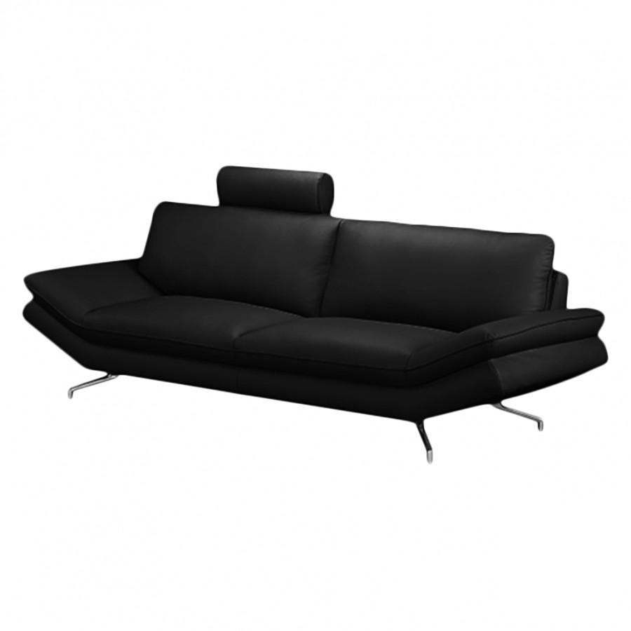 Sofa Sharon (2,5-Sitzer) - Echtleder Schwarz - Mit 1 Kopfstütze, loftscape