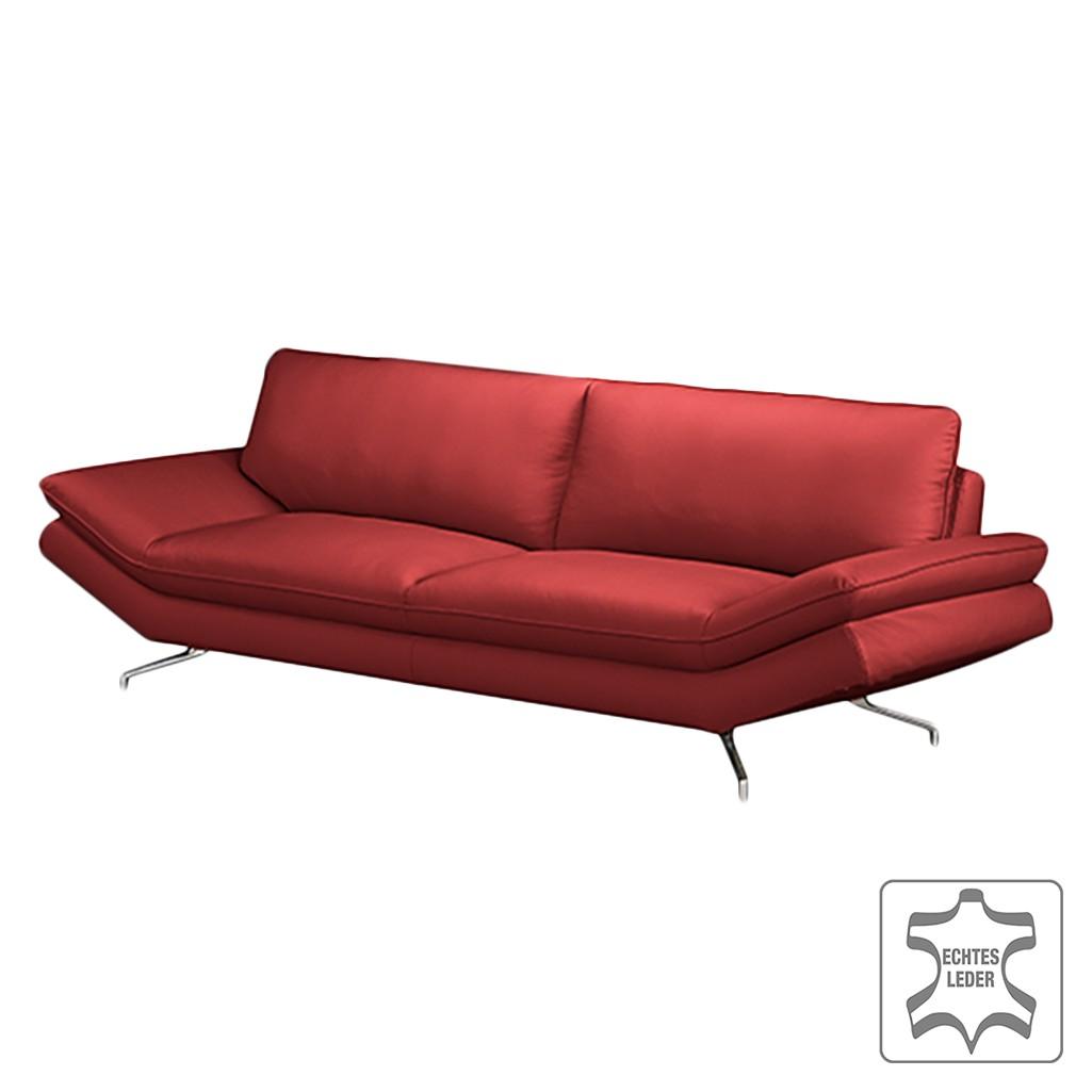 Sofa Sharon (3-Sitzer) – Echtleder Kaminrot – Mit 1 Kopfstütze, loftscape bestellen