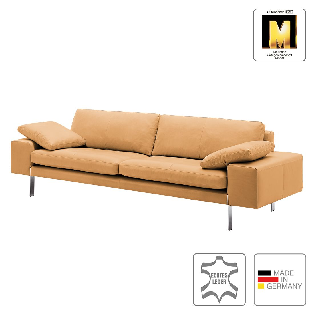 sofa topal 4 sitzer echtleder cognac 2 kissen machalke. Black Bedroom Furniture Sets. Home Design Ideas