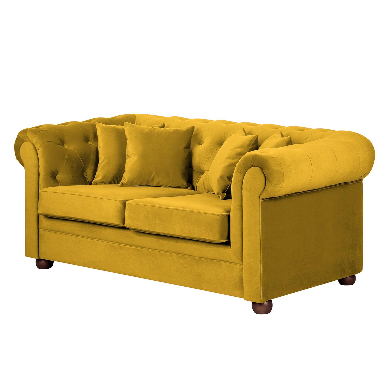 Sofa Upperclass (2-Sitzer) - Samtstoff - Gelb - 4 Kissen, furnlab
