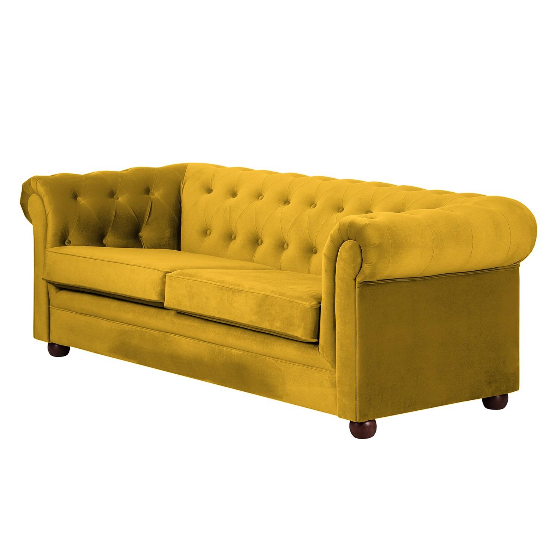 Sofa Upperclass (3-Sitzer) - Samtstoff - Gelb - Ohne Kissen, furnlab
