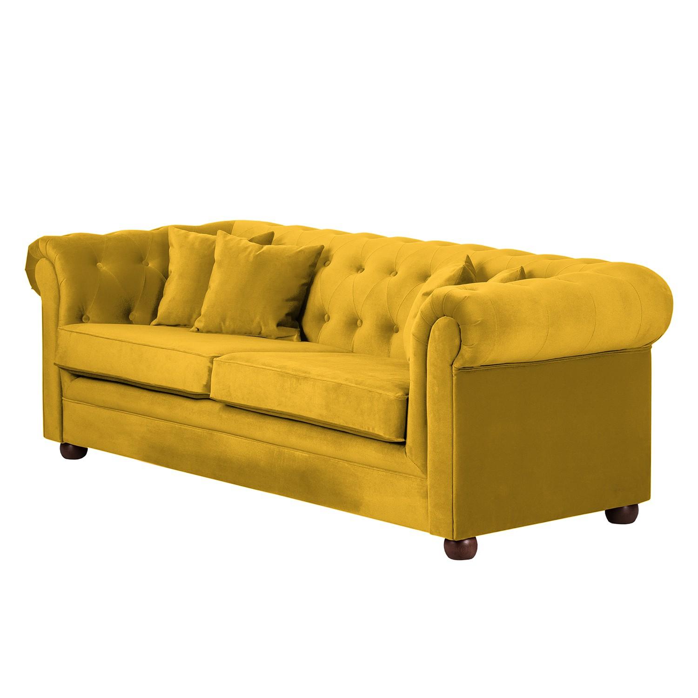 Sofa Upperclass (3-Sitzer) - Samtstoff - Gelb - 4 Kissen, furnlab