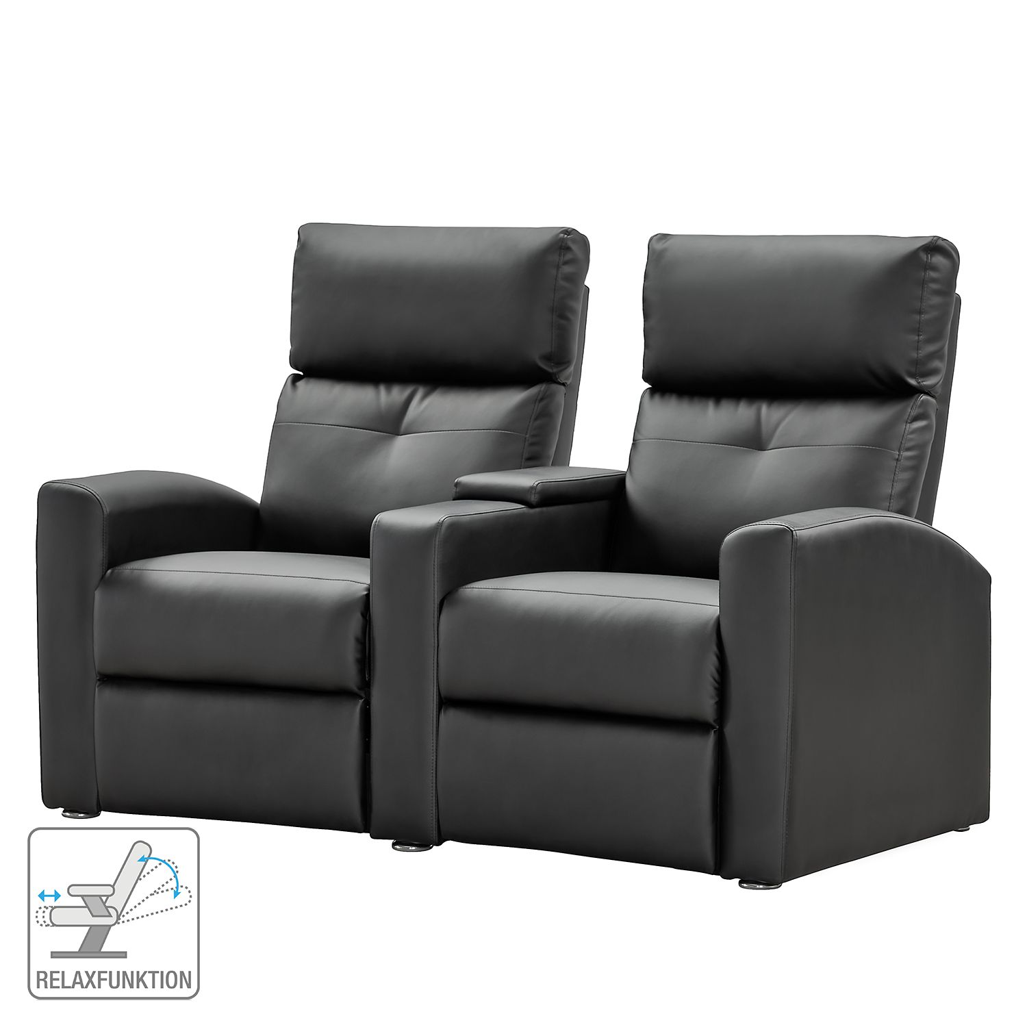 nuovoform sofa weddell 2 sitzer kunstleder schwarz relaxsofa couch lounge ebay. Black Bedroom Furniture Sets. Home Design Ideas