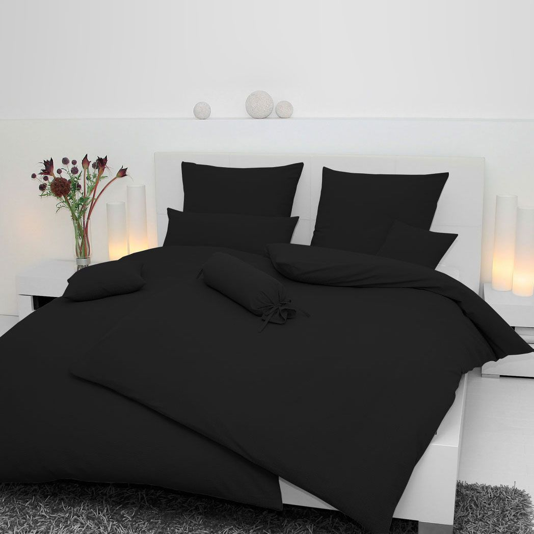 soft seersucker bettw sche piano 100 baumwolle schwarz 15 x 40 cm janine g nstig kaufen. Black Bedroom Furniture Sets. Home Design Ideas