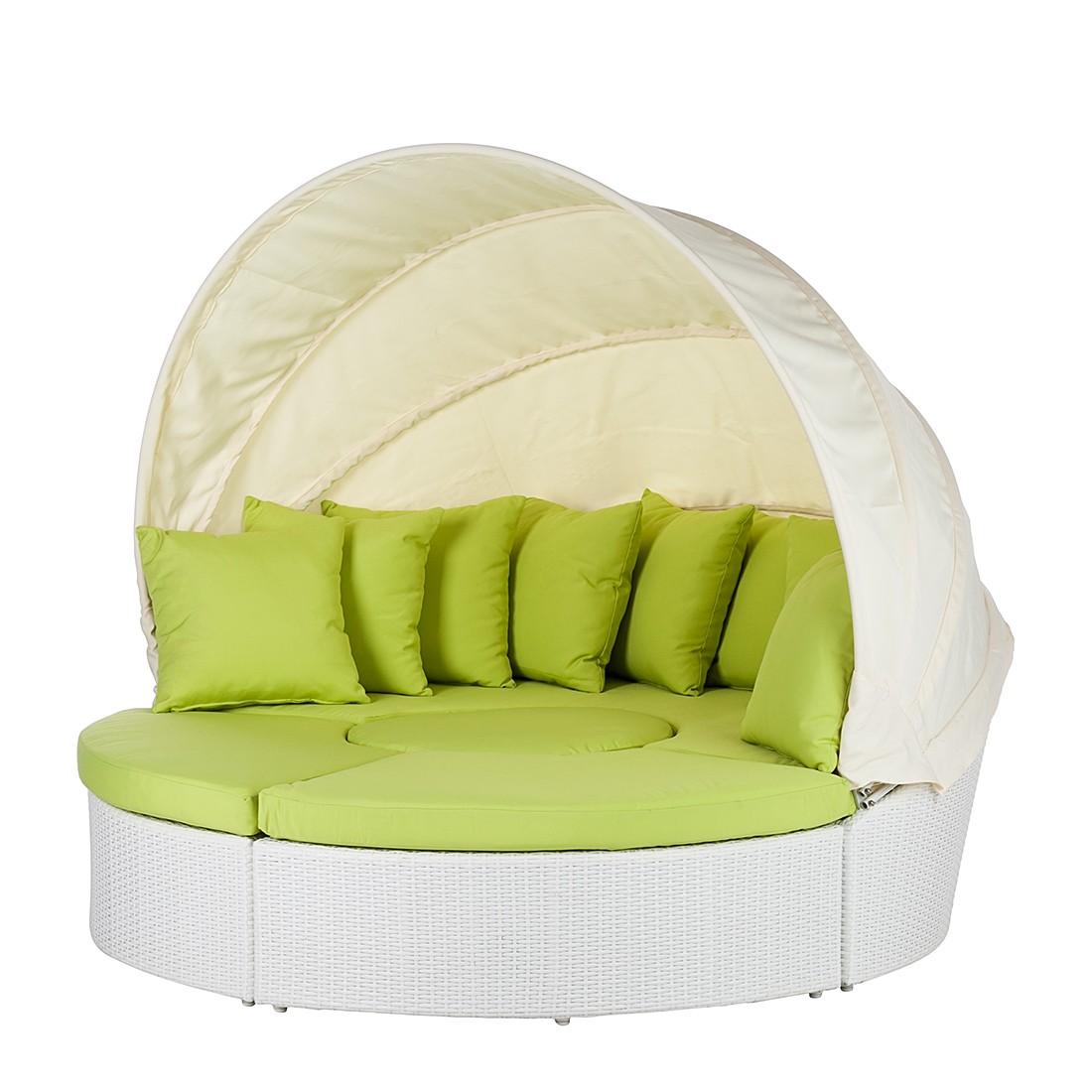 Sonneninsel White Comfort (4-teilig) - Polyrattan/Textil - Weiß/Grün, Eden Company