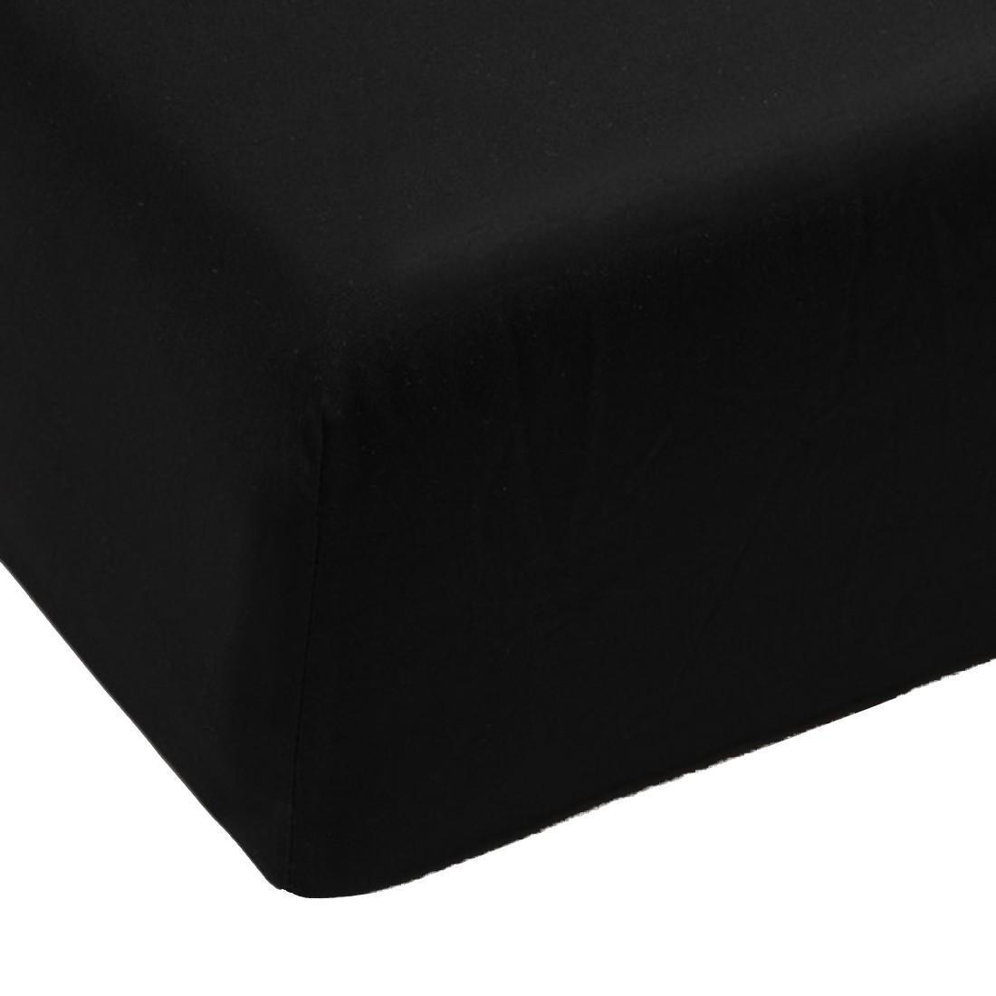 Spannbettlaken Perkal – Schwarz – Baumwolle – Abmessungen 200x180x35cm, BH jetzt kaufen