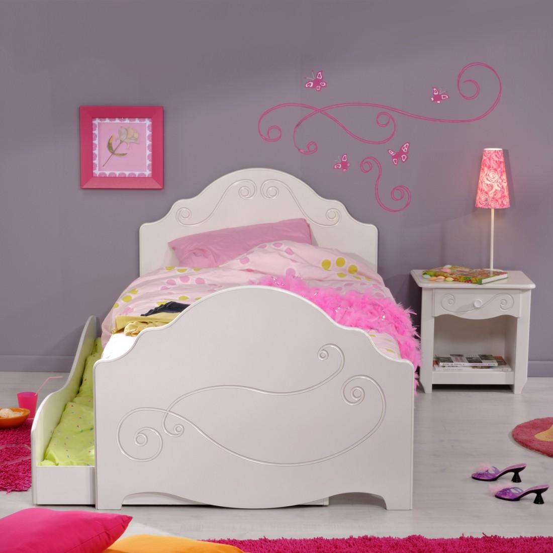 Sparset Alice (3-teilig) – Weiß lackiert – Bett, Bettschubkasten & Nachttisch, Parisot Meubles jetzt bestellen