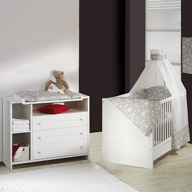 Babyzimmer Eco Stripe (2-teilig) - Weiß, Schardt