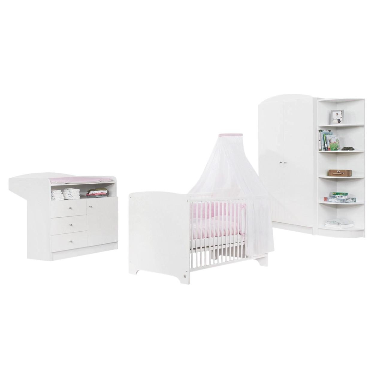 Sparset Jil (3-teilig) - Kiefer teilmassiv - Babybett, Wickelkommode & Kleiderschrank 2-türig - Weiß lackiert, Pinolino