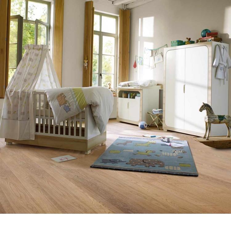 Sparset Natural Harmony (3-teilig) - Kinderbett, Wickelkommode & Kleiderschrank - Weiß/Südesche, Roba
