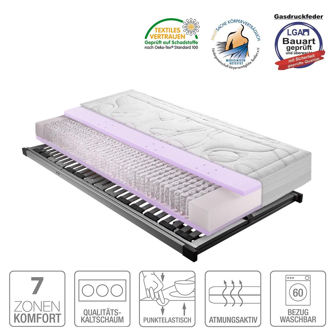 Sparset Sleep Gel 4 – Taschfederkernmatratze & Lattenrost Silver (nicht verstellbar) – 140 x 200cm – H2 bis 80 kg, Breckle günstig