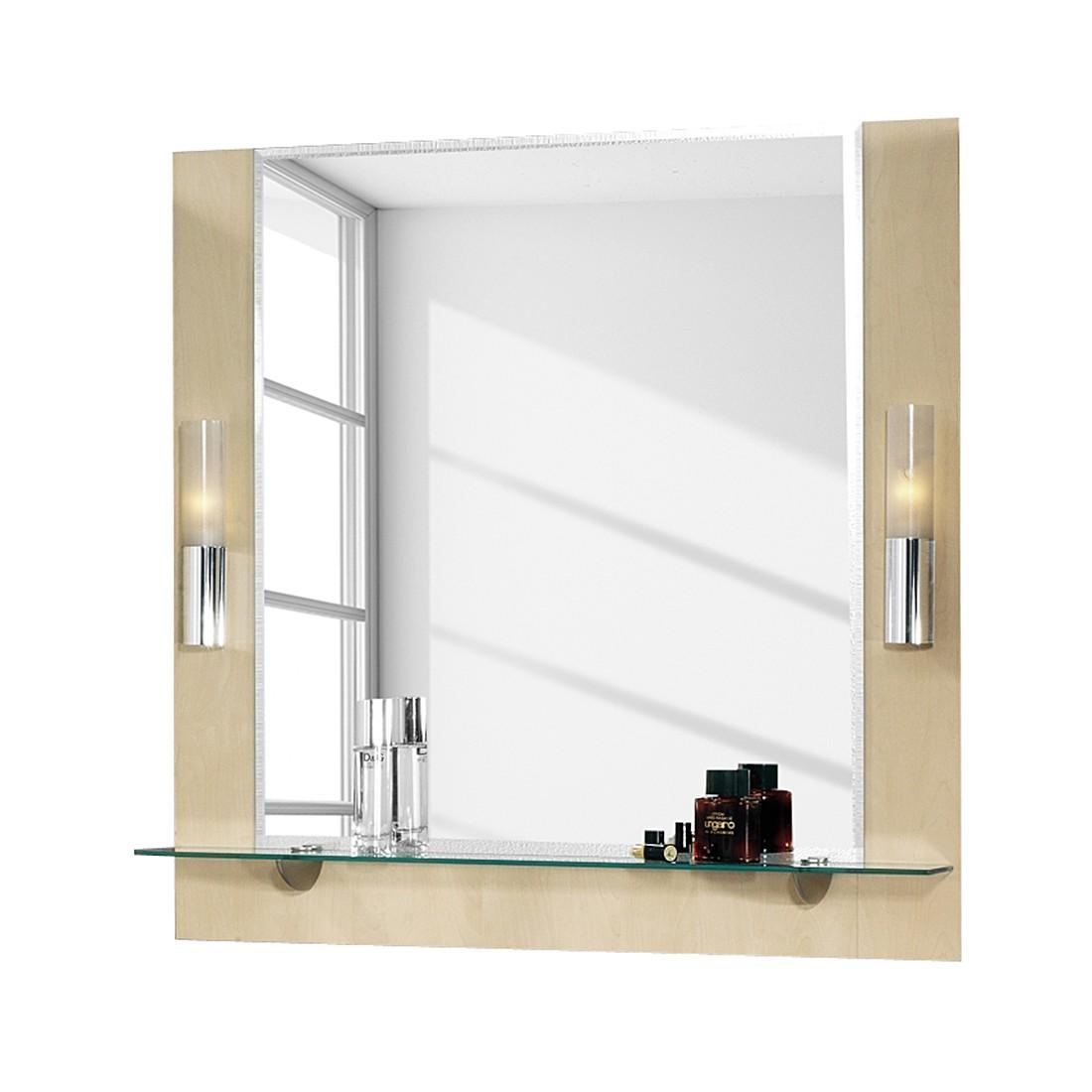 spiegelelement domino mit glasablage beleuchtung birke dekor fackelmann jetzt bestellen. Black Bedroom Furniture Sets. Home Design Ideas