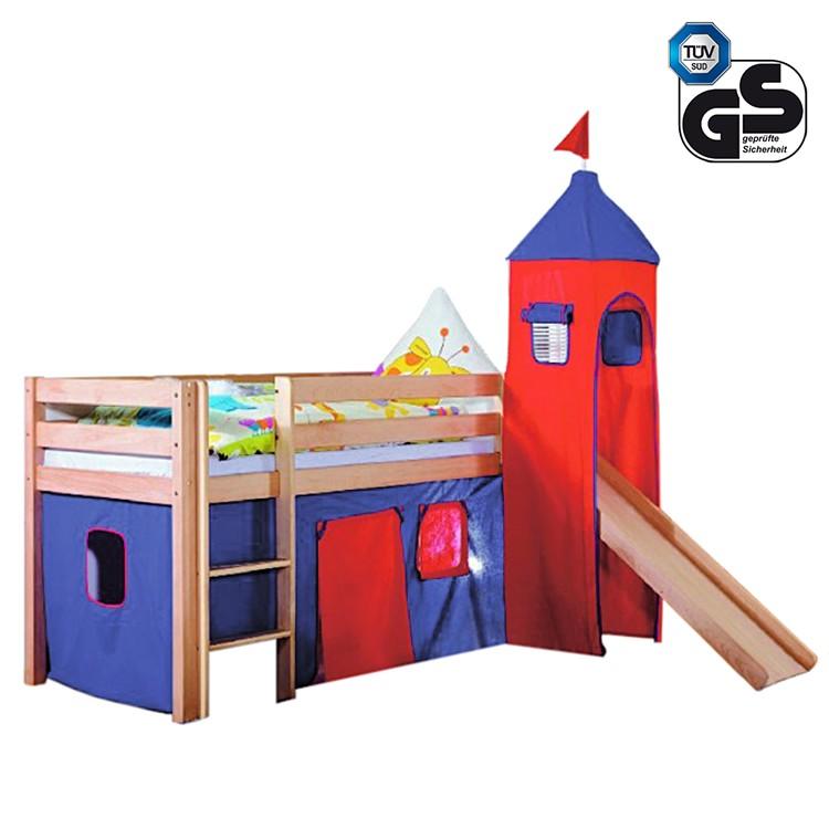 Spielbett Alex – Buche massiv natur lackiert – Inklusive Rutsche, Turm & Textilset in Blau/Rot, Relita jetzt kaufen