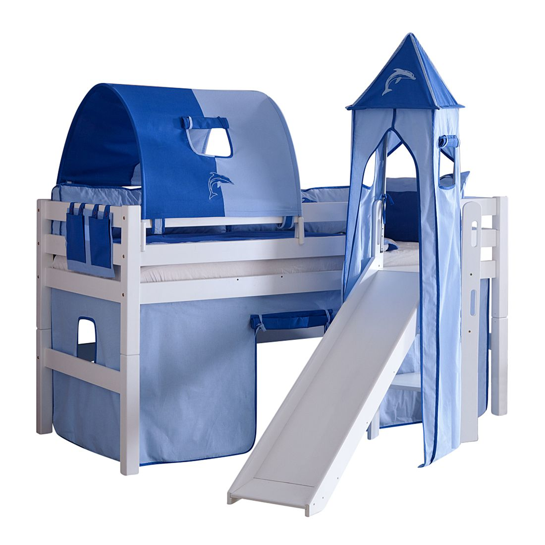spielbett eliyas mit rutsche vorhang tunnel turm und tasche buche wei textil blau delfin. Black Bedroom Furniture Sets. Home Design Ideas