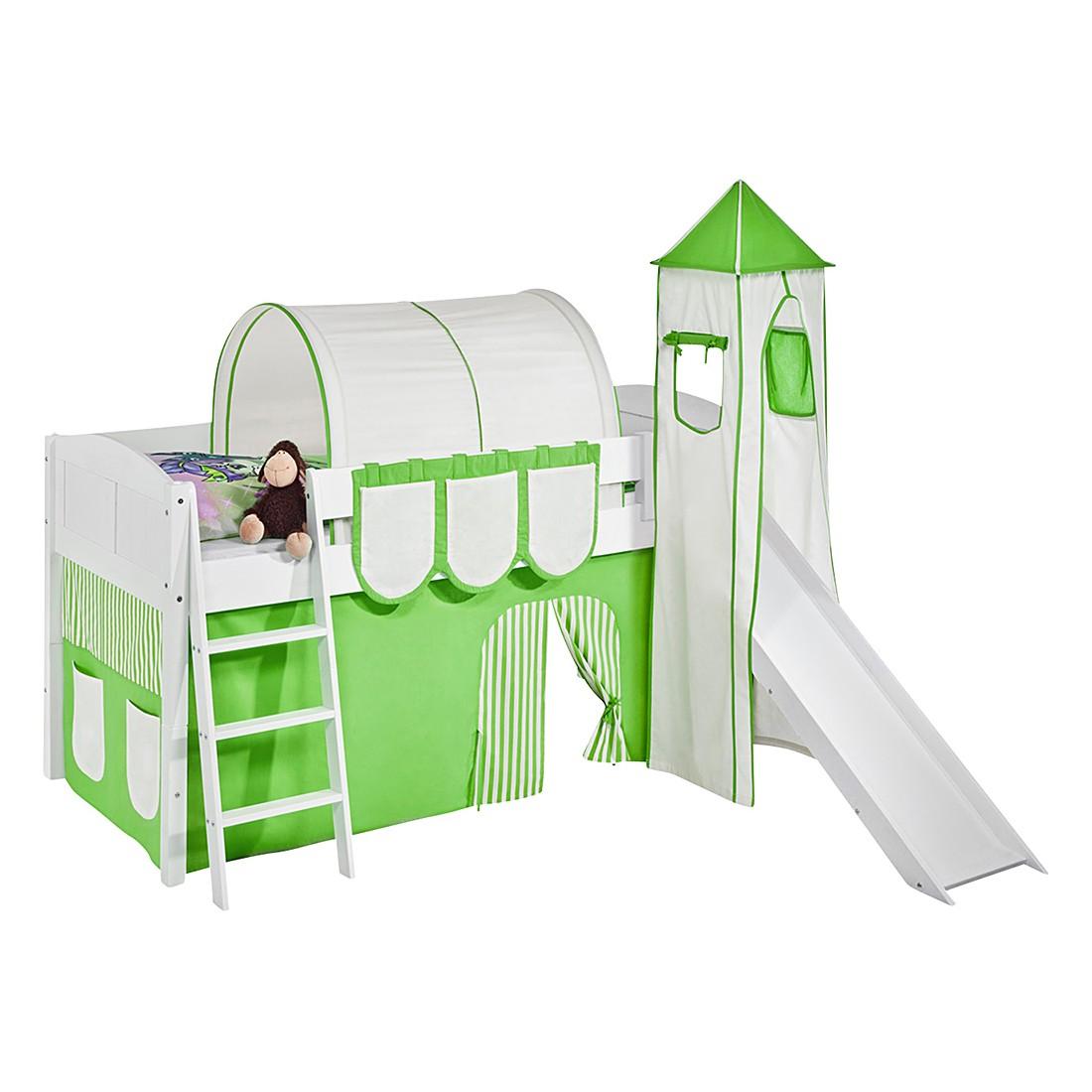 Spielbett IDA 4106 Grün Beige – Teilbares Systemhochbett LILOKIDS – mit Turm und Rutsche inkl. Vorhang – weiß, Lilokids jetzt kaufen