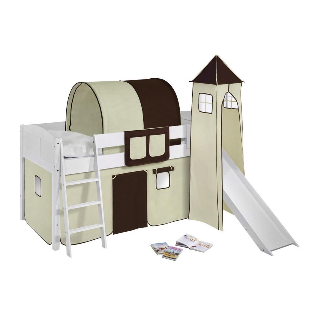 spielbett ida kiefer massiv wei braun beige mit. Black Bedroom Furniture Sets. Home Design Ideas