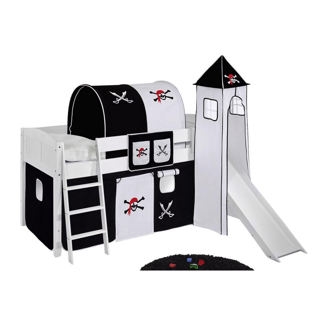 Spielbett IDA – Kiefer massiv – Weiß/Pirat-Schwarz – mit Rutsche, Lilokids günstig kaufen