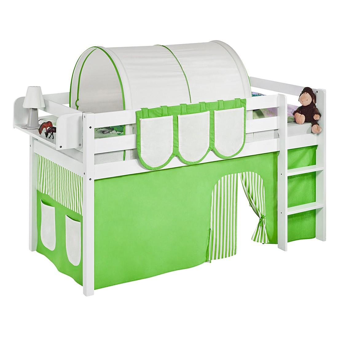 Spielbett JELLE Grün Beige – Hochbett LILOKIDS – mit Vorhang – weiß – 90 x 190 cm, Lilokids online kaufen