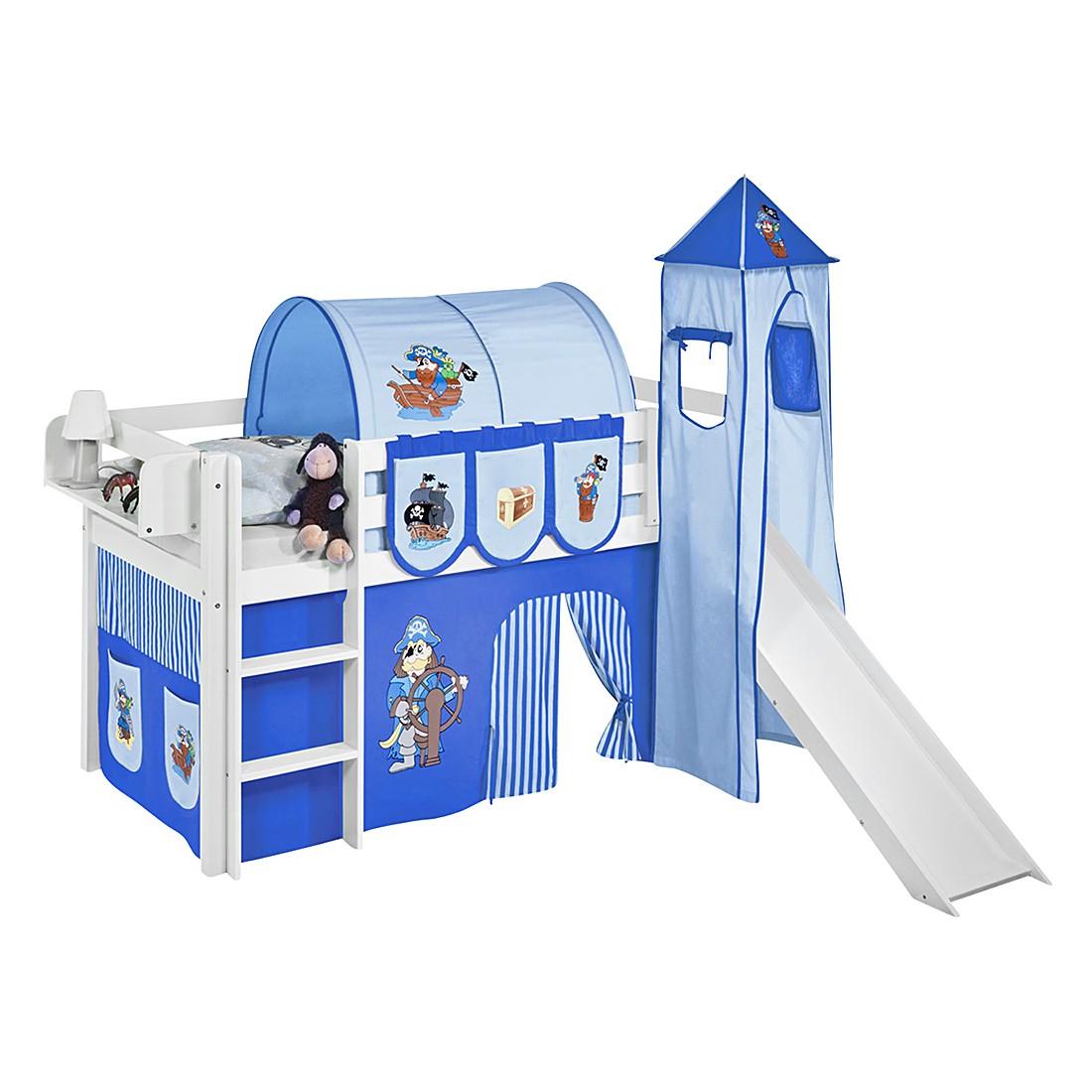 Spielbett JELLE Pirat Blau – Hochbett LILOKIDS – mit Turm und Rutsche und Vorhang – weiß – 90 x 190 cm, Lilokids online kaufen