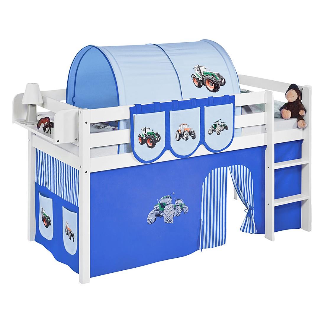 spielbett jelle trecker blau hochbett lilokids mit vorhang wei. Black Bedroom Furniture Sets. Home Design Ideas