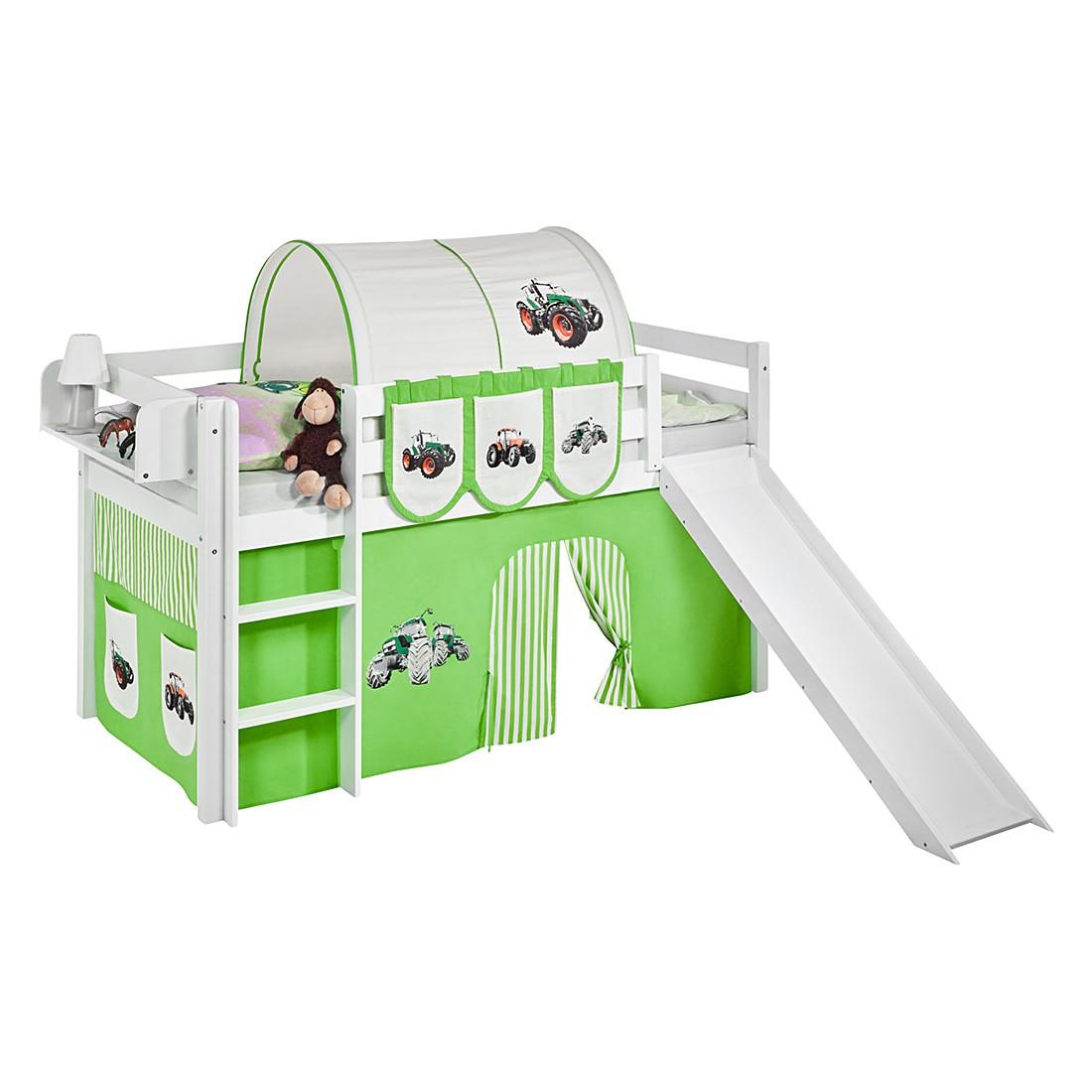 Spielbett JELLE Trecker Grün – Hochbett LILOKIDS – mit Rutsche und Vorhang – weiß – 90 x 190 cm, Lilokids günstig kaufen