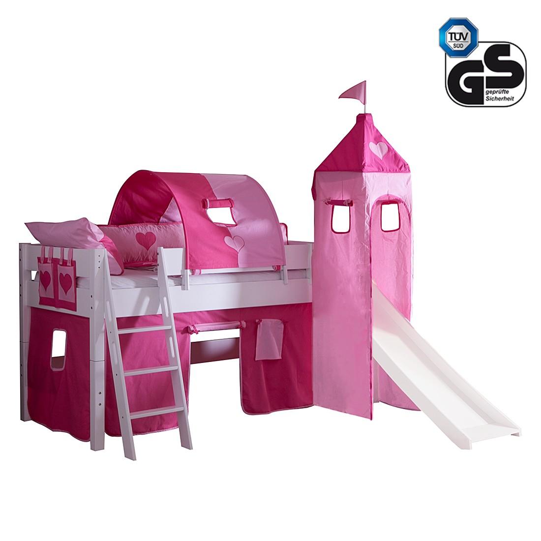 Spielbett Kim – Massivholz Buche – Weiß lackiert – mit Rutsche, Turm und Textilset in Pink/Rosa, Relita kaufen