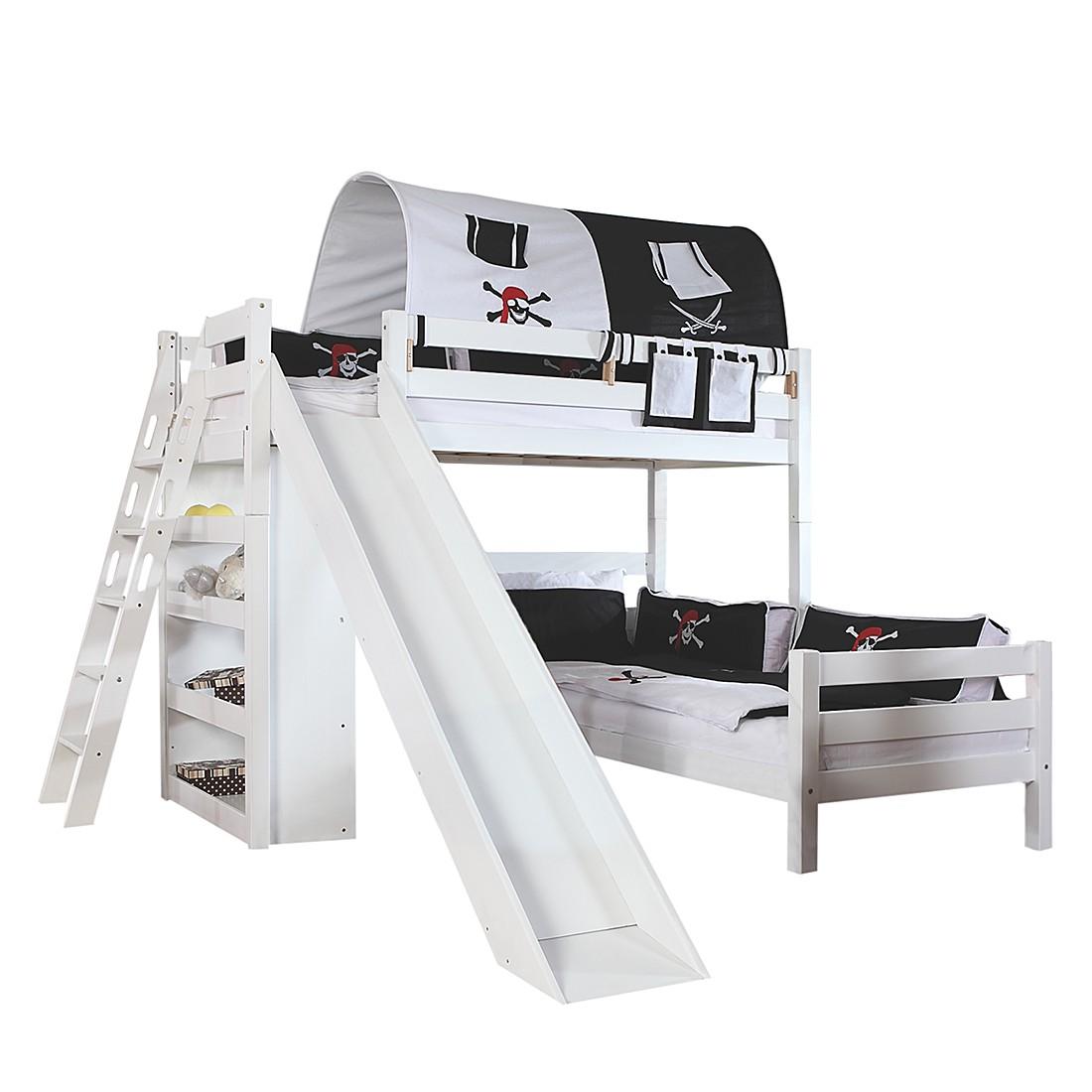 Spielbett Sky - mit Rutsche, Regal, Tunnel und Tasche - Buche massiv weiß/Textil Pirat, Relita