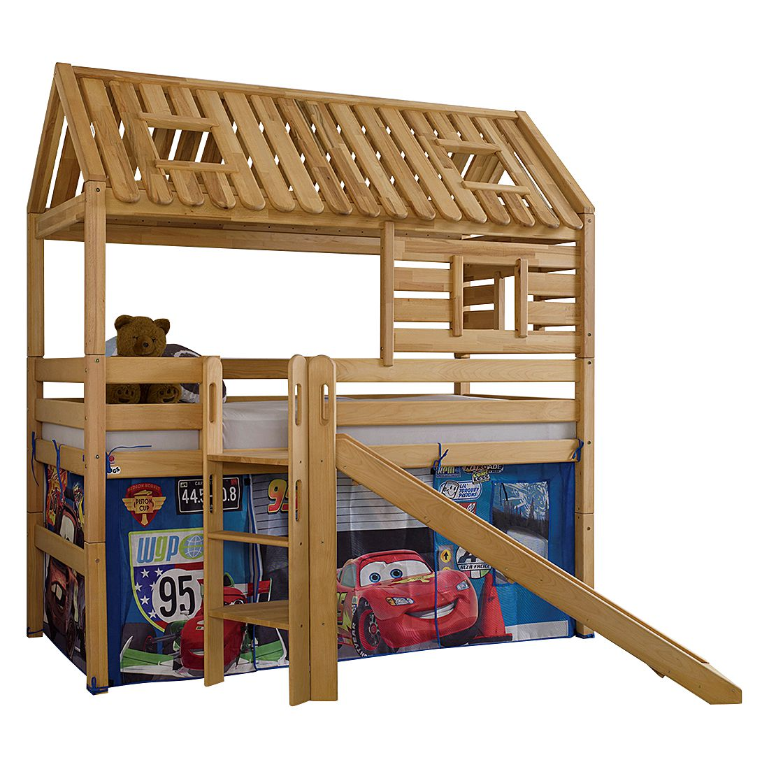 Spielbett Tom´s Hütte (mit Rutsche) - Buche massiv/Textil - Geölt/Disney Cars, Relita