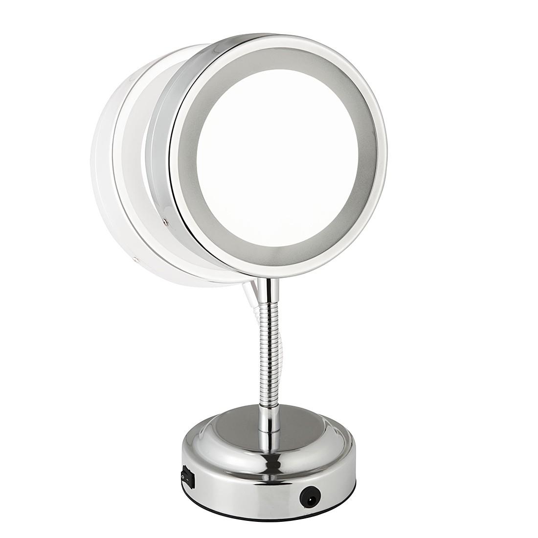 Standspiegel Katharina – Chrom, LED-Beleuchtung, 5-fache Vergrößerung, Sanwood bestellen