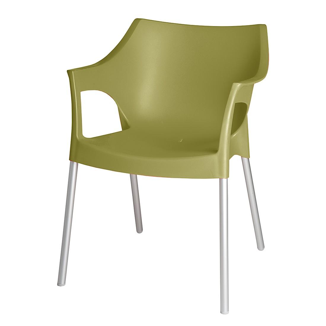 Stapelstuhl Pole (2er Set) – Kunststoff/Aluminium – Olivgrün/Chromfarben, Blanke Design günstig kaufen
