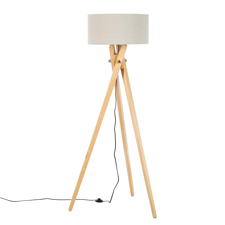 stehleuchte tripod mikko massivholz webstoff 1 flammig. Black Bedroom Furniture Sets. Home Design Ideas