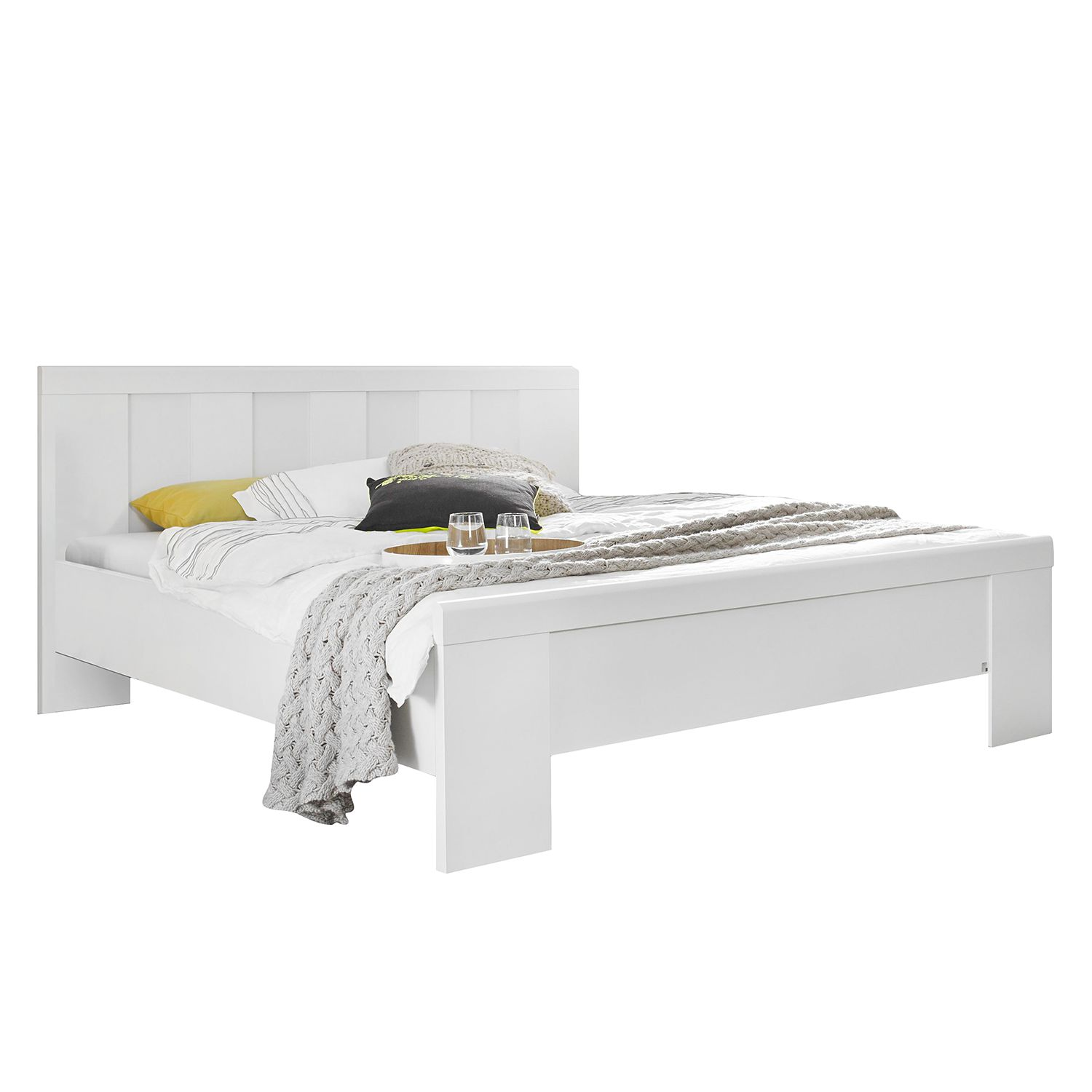 Bed Agnetha - alpinewit - 180 x 200cm - Geen bedlade, Rauch Select