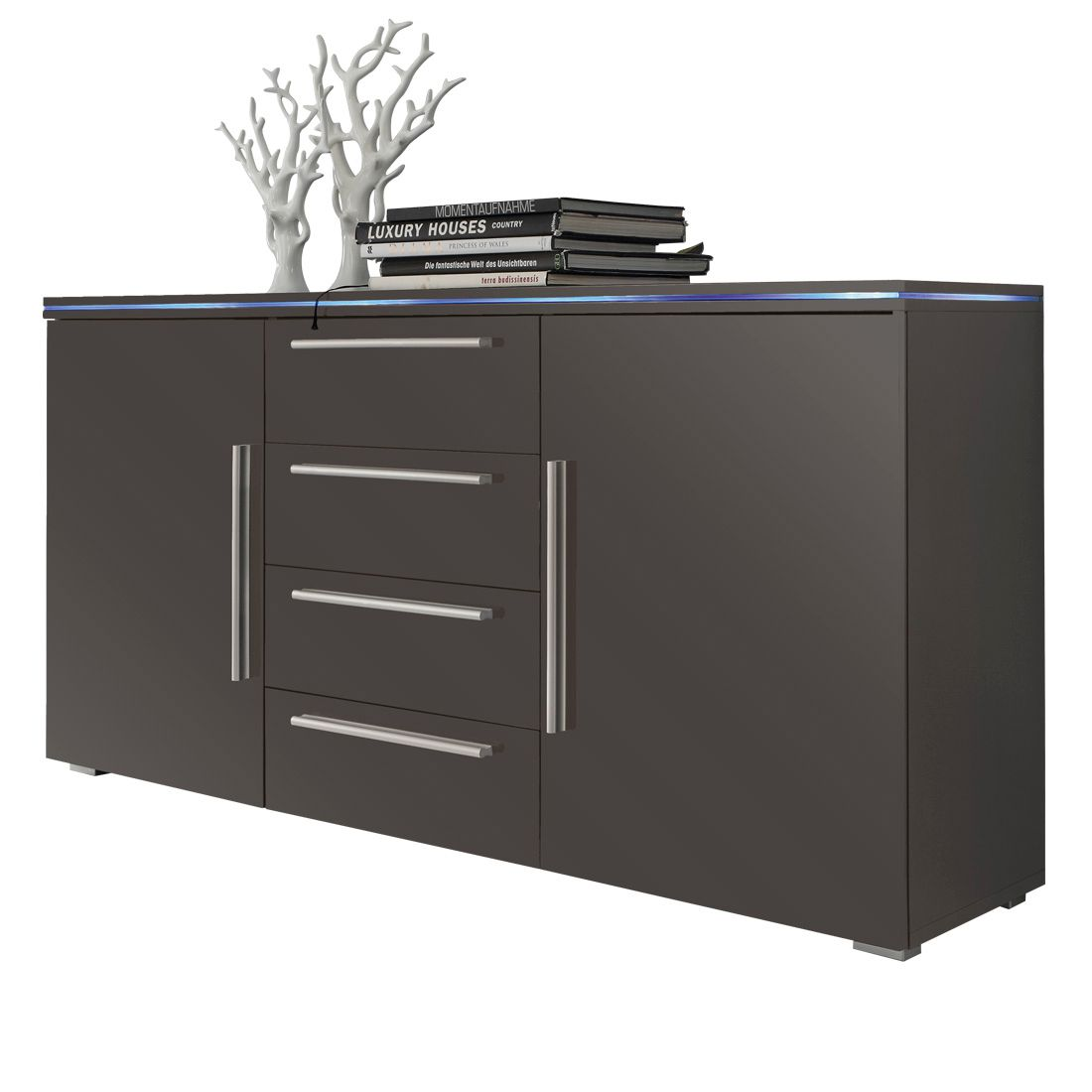 stripe sideboard grau hochglanz mit 2 t ren und 4 schubk sten. Black Bedroom Furniture Sets. Home Design Ideas