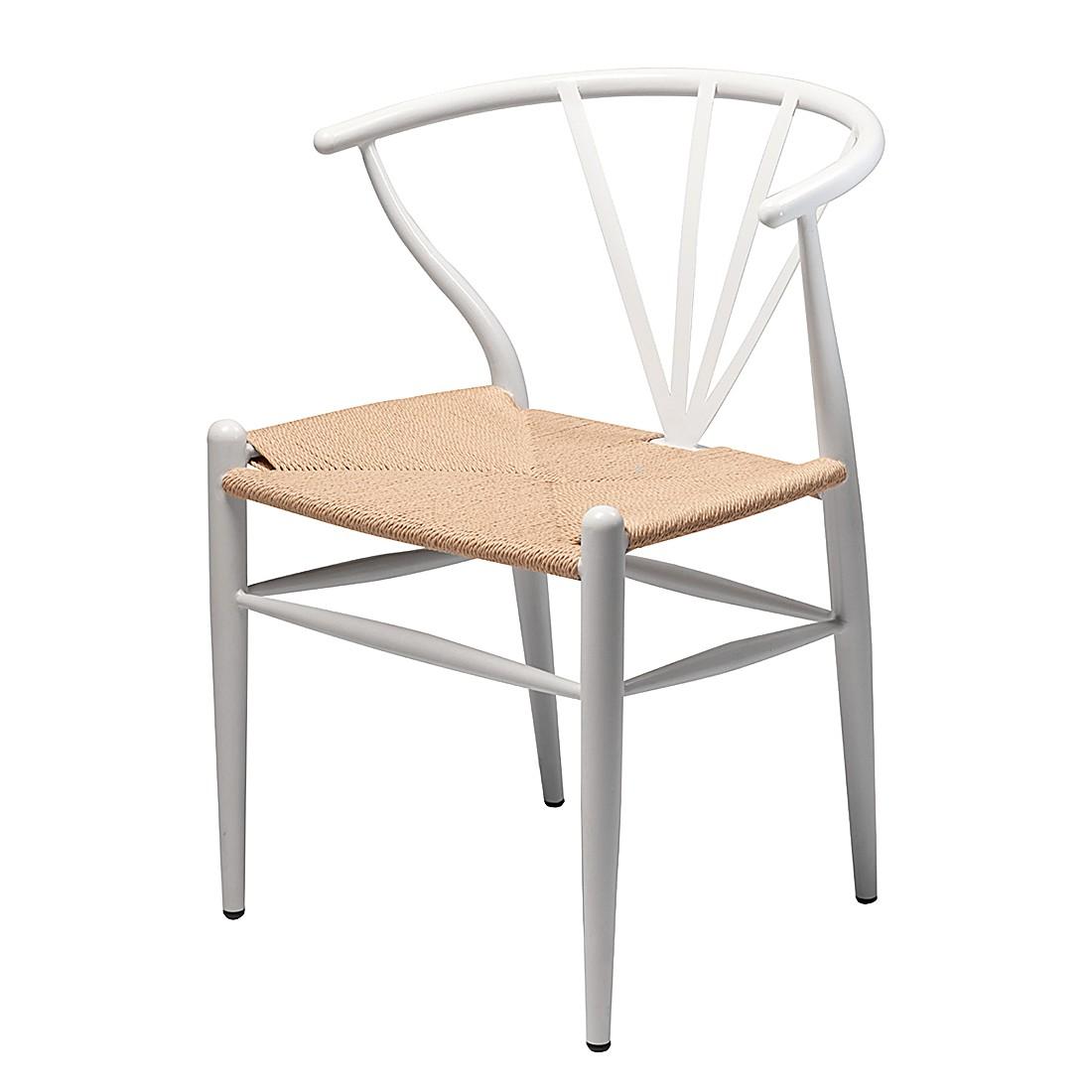 Esszimmerstuhl Delta (2er-Set) – Rattan/ Metall – Weiß, Dan-Form kaufen