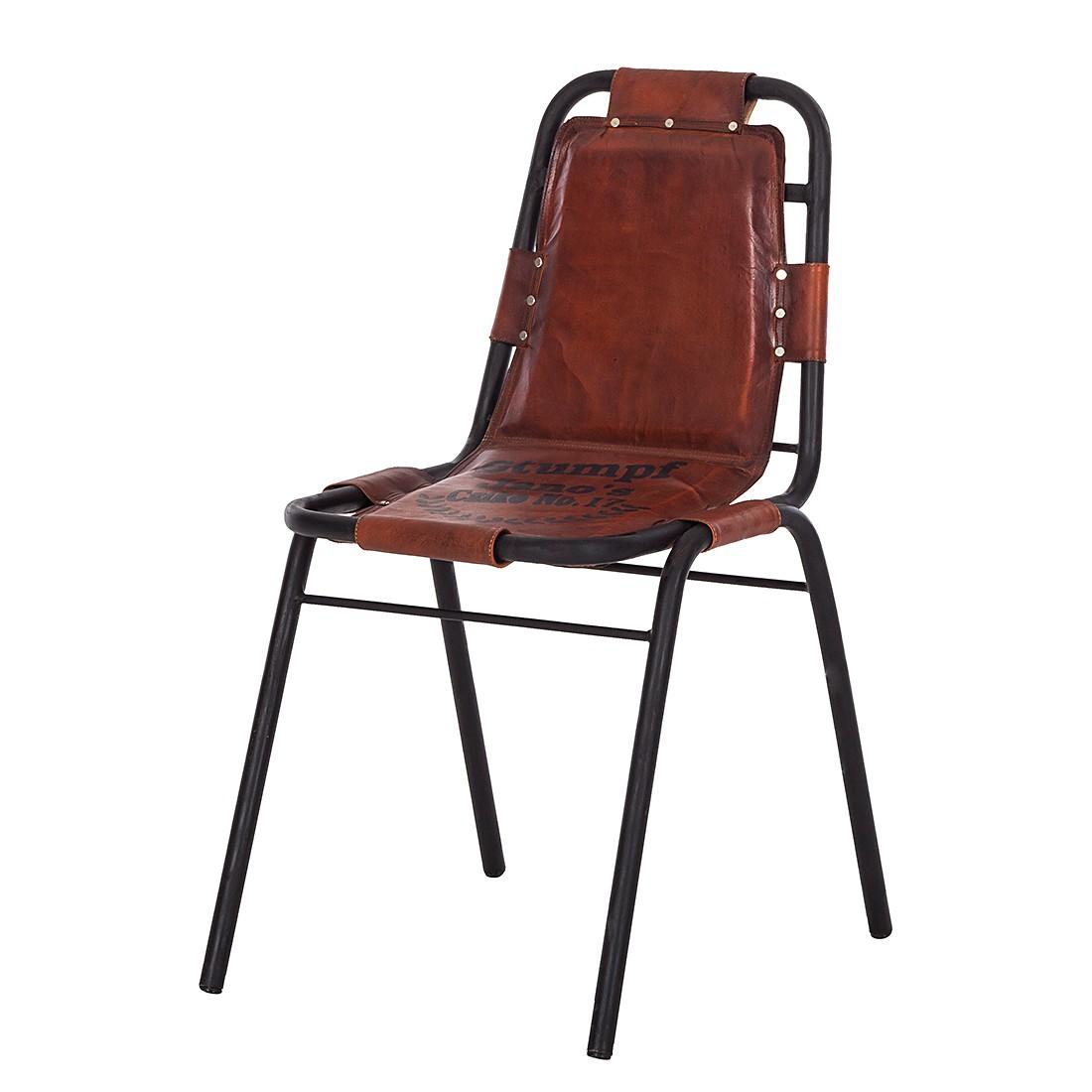 furnlab Stuhl Havanna - Eisen/Echtleder - Braun, furnlab